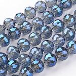 Abalorios de vidrio electrochapdo, chapado en arco iris , facetados, redondo, azul real, 15.5mm, agujero: 2 mm; aproximamente 15 unidades / cadena, 8.6 pulgada (22 cm)
