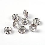 Abalorios de latón Diamante de imitación espaciador, aaa grado, brida recta, sin níquel, color plateado, rerondana plana, cristal, 6x3mm, agujero: 1 mm
