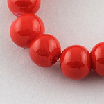 Painted Glass Bead Strands, Baking Paint, Round, Red, 8mm; Hole: 1.3~1.6mm, about 100pcs/strand, 31.4