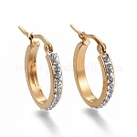201 Stainless Steel Hoop Earrings, with Rhinestone, Oval, Golden, 24x19.5x3.1mm, Pin: 0.8mm