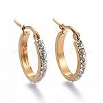 Pendientes de aro de 201 acero inoxidable, con diamante de imitación, oval, dorado, 24x19.5x3.1mm, pin: 0.8 mm