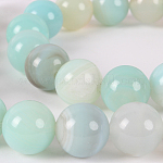 Natural Gemstone Agate Round Bead Strands, Dyed, SkyBlue, 10mm, Hole: 1mm; about 38pcs/strand, 14.96