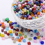 Dyed 6/0 Loose Round Glass Seed Beads, for Jewelry Making & Bead Crafting, Mixed Color, 3.5~4x2.5~3mm, Hole: 0.6mm; about 4500pcs/pound