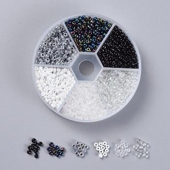 6 color 8/0 cuentas de semillas de vidrio, colores opacos e iris y ceilán y colores opacos colores brillantes y helados y trans. colores brillantes, redondo, negro, 8/0, 3mm, agujero: 1 mm, 60 g / caja, aproximamente 1330 unidades / caja