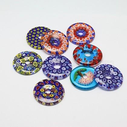 Rosquilla mixta / pi disco hecho a mano millefiori colgantes de cristalLAMP-A147-15-1