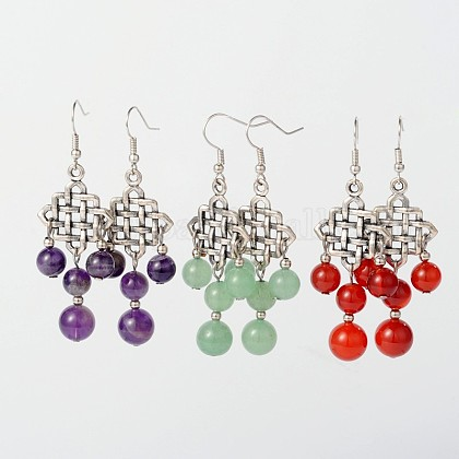 Dangling Tibetan Style Alloy Natural & Synthetic Mixed Stone Chandelier EarringsEJEW-JE01564-1