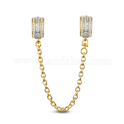 TINYSAND® Sterling Silver Golden CZ Safety ChainTS-S-143-1