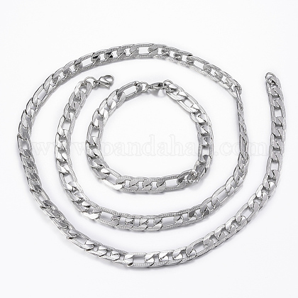 Trendy Men's 304 Stainless Steel Figaro Chain Necklaces and Bracelets Jewelry SetsSJEW-L186-03P-1