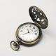 Aleación de zinc cabezas huecas reloj de cuarzo de la vendimia para el reloj de bolsillo el collar del colganteWACH-R005-27-3