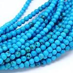Природные Синьцзяне бирюзовый круглых прядей шарик, окрашенная и подогревом, голубой, 4 мм, Отверстие : 1 мм; около 101 шт / нитка, 15.55