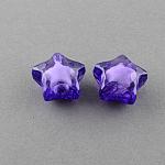 Transparent Acrylic Beads, Bead in Bead, Star, Indigo, 12x11x8mm, Hole: 2mm; about 1200pcs/500g
