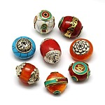 Handmade Tibetan Style Beads, Thai Sterling Silver or Brass with Turquois, Beeswax or Synthetic Coral, Mixed Shapes, Mixed Color, 24~34x21~25x14~19mm, Hole: 1.5~3mm
