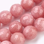 Natural Malaysia Jade Beads Strands, Dyed, Faceted, Round, LightCoral, 6mm, Hole: 1mm; about 66pcs/strand, 14.9inches