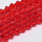 Imitate Austrian Crystal Bicone Glass Beads Strands, Grade AA, Faceted, Red, 6x6mm, Hole: 1mm; about 50pcs/strand, 10.5