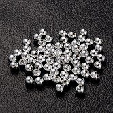 Plating Acrylic Beads, Round, Platinum Color, about 6mm in diameter, hole: 1mm; about 4000pcs/500g