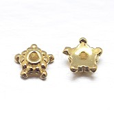 Real 18K Gold Plated 5-Petal Sterling Silver Bead Caps, Star, Golden, 5x2mm, Hole: 1mm; about 117pcs/20g