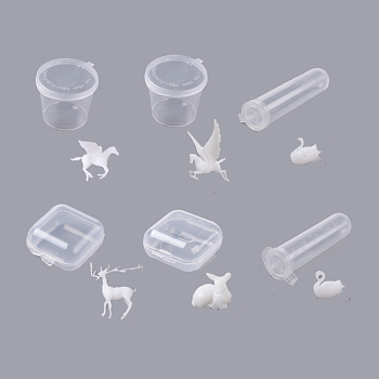 DIY Epoxy Resin Material Filling, Animal, For Display Decoration, with Transparent Box, Mixed Shape, White, 8.5~32x8.5~32x4~16mm