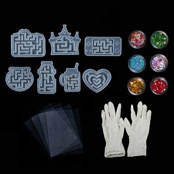DIY Treibsand Schmuck Silikon Formen Kits, mit Harzgussformen, Einweg-Gummihandschuhe, Aufbewahrungsbehälter aus Kunststoffperlen und glänzender Nail Art Glitter, Mischfarbe, 77.5x81.5x9.5 mm, 1 pc