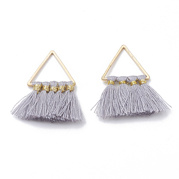 Polycotton(Polyester Cotton) Tassel Pendant Decorations, with Brass Findings, Golden, Gray, 27~31x21~25x2~3mm, Hole: 12x13mm