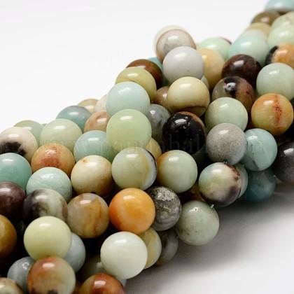 Round Natural Amazonite Beads StrandsG-K074-4mm-1