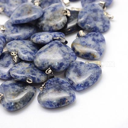 Colgantes de jaspe de punto azul natural de corazónG-Q438-10-1