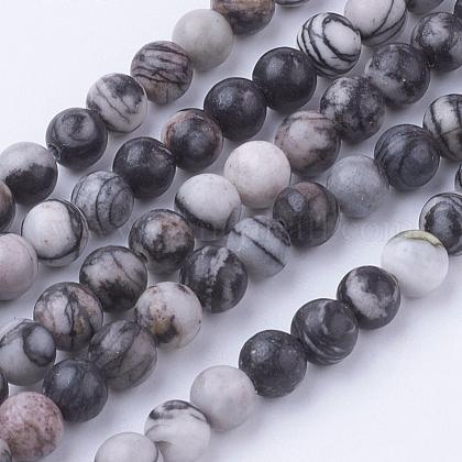 Natural Netstone Round Beads StrandsG-G735-90-4mm-1