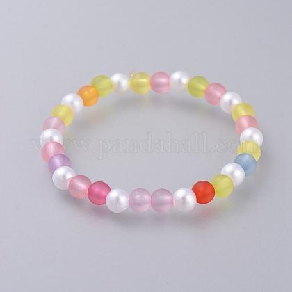 Pulseras de imitación de perlas imitadas acrílicas para niñosBJEW-JB04570-1