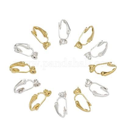 Brass Clip-on Earring Converters FindingsKK-TA0007-21-1
