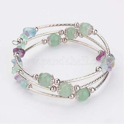 Three Loops Wrap Natural Mixed Stone Beads Bracelets BJEW-JB02922-03-1