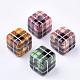 Perlas de resina impresa, Abalorios de grande agujero, cubo con el patrón de tartán, color mezclado, 19.5x19.5x19.5mm, agujero: 7.5 mm