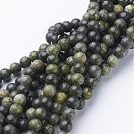 Gemstone Beads Strands, Natural Serpentine/Green Lace Stone, Round, DarkGreen, about 6mm in diameter, hole: 0.8mm; about 65pcs/strands, 15~16
