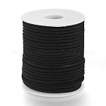 Braided Nylon Threads used for Necklace Makings, Black, 2.5mm; about 30m/roll