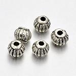 Estilo tibetano linterna de aleación de los entrepieza de abalorios, sin plomo, cadmio, níquel, plata antigua, 5x4mm, agujero: 1 mm
