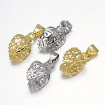 Filigree Leaf Rack Plating Brass Pendant Pinch Bails, Mixed Color, 18x8x10mm, Hole: 5x3mm; Pin: 1mm