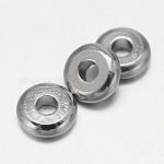 フラットラウンド真鍮スペーサービーズ, プラチナ, 4x1.5mm, 穴:1.5mm