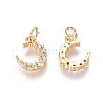 Brass Micro Pave Clear Cubic Zirconia Charms, with Jump Rings, Moon, Golden, 12.5x9x3mm, Jump Ring: 5x0.7mm, Inner Diameter: 3.6mm