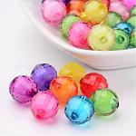 Transparent Acrylic Beads, Bead in Bead, Faceted, Round, Mixed Color, 12mm, Hole: 2mm; about 580pcs/500g