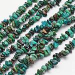 Hebras de perlas naturales crisocola, patatas fritas, 4~12x4~12mm, agujero: 1 mm; aproximamente 15.74