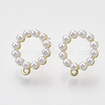 Alloy Stud Earring Findings, with ABS Plastic Imitation Pearl, Raw(Unplated) Pin and Loop, Round Ring, Golden, 15x13mm, Hole: 0.8mm, Pin: 0.7mm