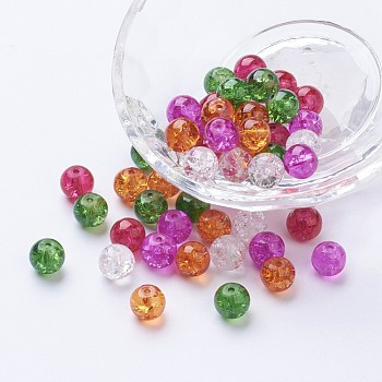 Baking Painted Crackle Glass Beads, Christmas Mix, Round, Mixed Color, 8~8.5x7.5~8mm, Hole: 1mm; about 100pcs/bag