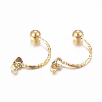 304 tuerca de oreja de acero inoxidable, pendiente trasero, con cuentas de bolas redondas, dorado, 23x5mm, pin: 1 mm