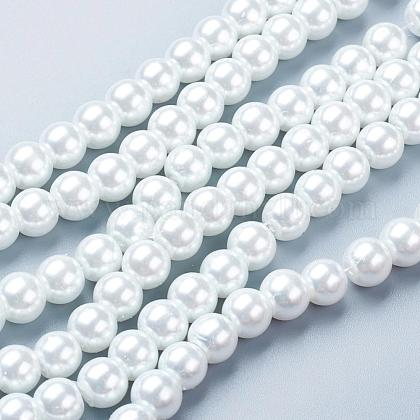 White Glass Pearl Round Loose Beads For Jewelry Necklace Craft MakingX-HY-8D-B01-1