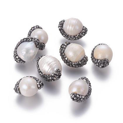 Perlas naturales abalorios de agua dulce cultivadasPEAR-F015-11-1
