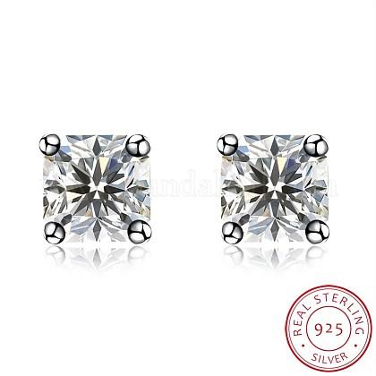 Sterling Silver Cubic Zirconia Stud EarringsEJEW-BB20118-C-1