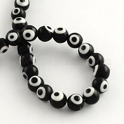 Perles rondes vernissées de mauvais œil manuellesLAMP-R114-10mm-08-1