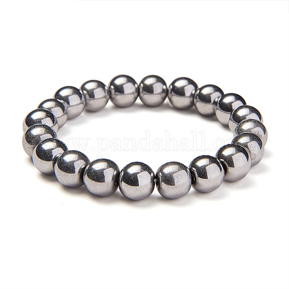 SUNNYCLUE® Silver Plate Non-magnetic Synthetic Hematite Round Beads Stretch BraceletsBJEW-PH0001-10mm-21-1