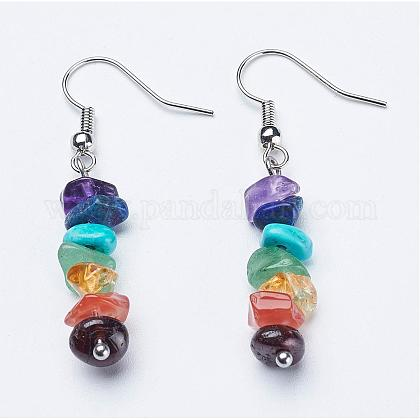 Natural & Synthetic Mixed Gemstone Dangle EarringsEJEW-JE02291-1