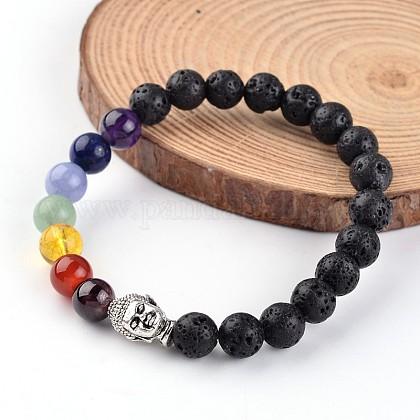Buddha Head Natural Lava Beaded Chakra Stretch BraceletsX-BJEW-JB02226-01-1