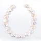 Cuentas de perlas keshi de perlas barrocas naturales redondas planas hebrasPEAR-R015-16-2