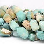 Natural Amazonite Beads Strands, Faceted, Nuggets, 18~28x14~20mm, Hole: 1mm; about 16pcs/strand, 15.7